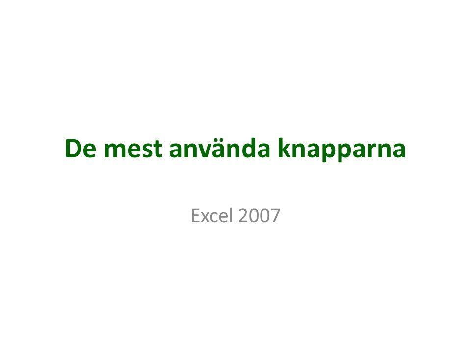 De mest använda knapparna Excel 2007