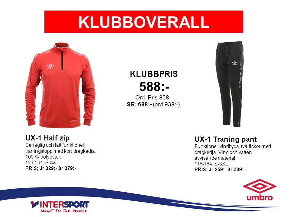 KLUBBOVERALL UX-1 Half zip Behaglig och lätt funktionell träningstopp med kort dragkedja. 100 % polyester. 116-164, S-3XL PRIS; Jr 329:- Sr 379:- UX-1