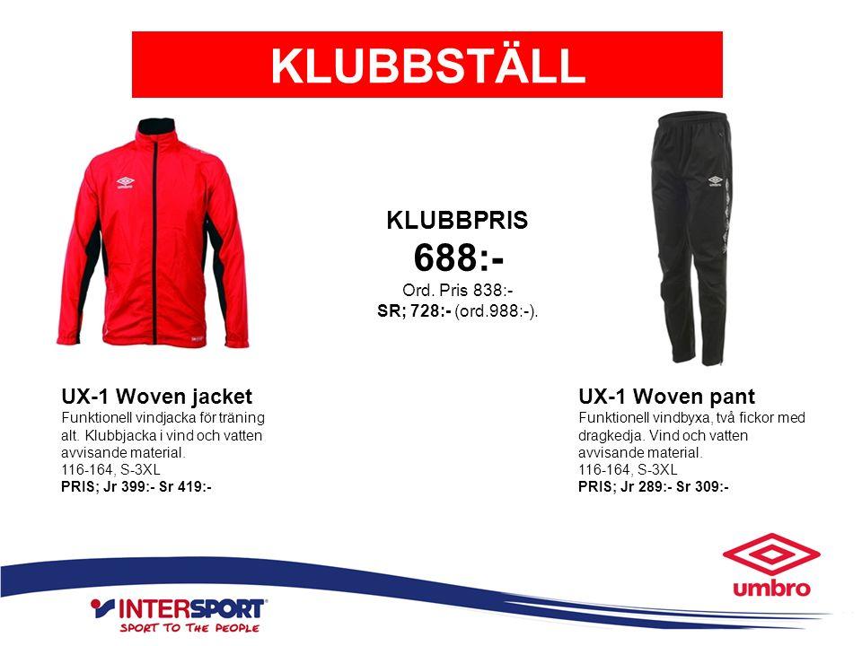 KLUBBSTÄLL UX-1 Woven jacket Funktionell vindjacka för träning alt. Klubbjacka i vind och vatten avvisande material. 116-164, S-3XL PRIS; Jr 399:- Sr