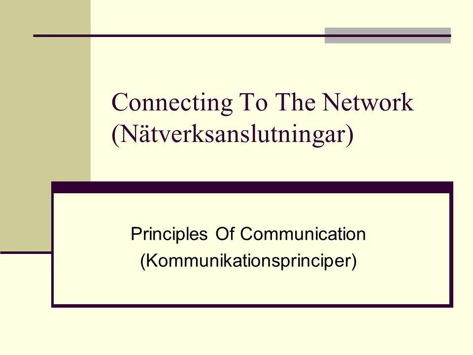 Connecting To The Network (Nätverksanslutningar) Principles Of Communication (Kommunikationsprinciper)