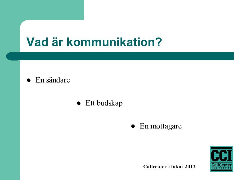 Callcenter i fokus 2012 Vad är kommunikation? En sändare Ett budskap En mottagare