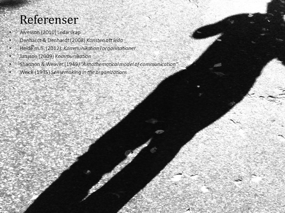 Referenser Alvesson (2010) Ledarskap Denhardt & Denhardt (2008) Konsten att leda Heide m.fl. (2012). Kommunikation i organisationer Jansson (2009) Kom