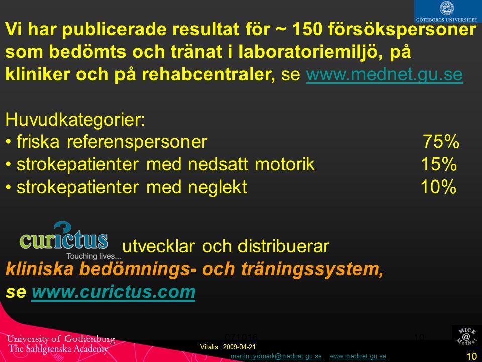 University of Gothenburg martin.rydmark@mednet.gu.se www.mednet.gu.semartin.rydmark@mednet.gu.sewww.mednet.gu.se 10 Vitalis 2009-04-21 071016 10 Vi har publicerade resultat för ~ 150 försökspersoner som bedömts och tränat i laboratoriemiljö, på kliniker och på rehabcentraler, se www.mednet.gu.sewww.mednet.gu.se Huvudkategorier: friska referenspersoner 75% strokepatienter med nedsatt motorik 15% strokepatienter med neglekt 10% utvecklar och distribuerar kliniska bedömnings- och träningssystem, se www.curictus.comwww.curictus.com