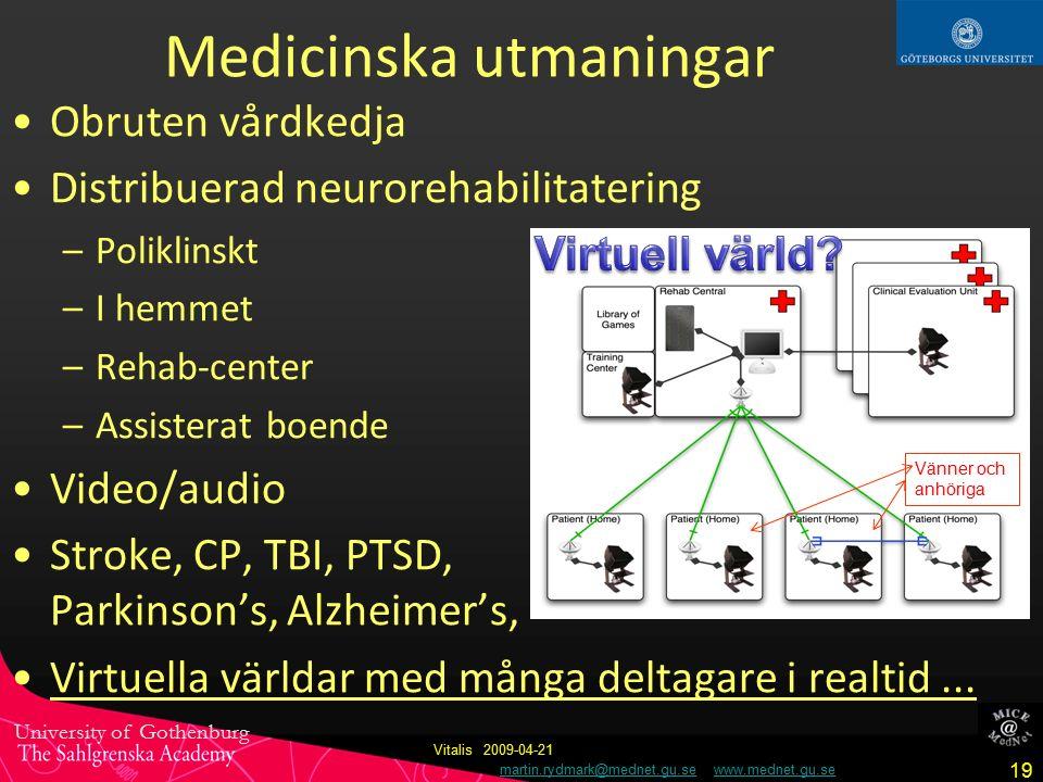 University of Gothenburg martin.rydmark@mednet.gu.se www.mednet.gu.semartin.rydmark@mednet.gu.sewww.mednet.gu.se 19 Vitalis 2009-04-21 Medicinska utmaningar Obruten vårdkedja Distribuerad neurorehabilitatering –Poliklinskt –I hemmet –Rehab-center –Assisterat boende Video/audio Stroke, CP, TBI, PTSD, Parkinson's, Alzheimer's, Virtuella världar med många deltagare i realtid...