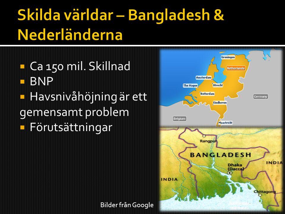  Ca 150 mil. Skillnad  BNP  Havsnivåhöjning är ett gemensamt problem  Förutsättningar Bilder från Google