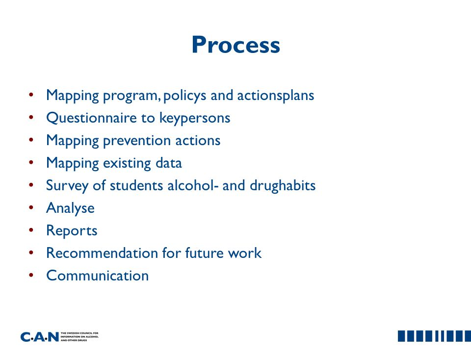 Process Mapping program, policys and actionsplans Questionnaire to keypersons Mapping prevention actions Mapping existing data Survey of students alcohol- and drughabits Analyse Reports Recommendation for future work Communication