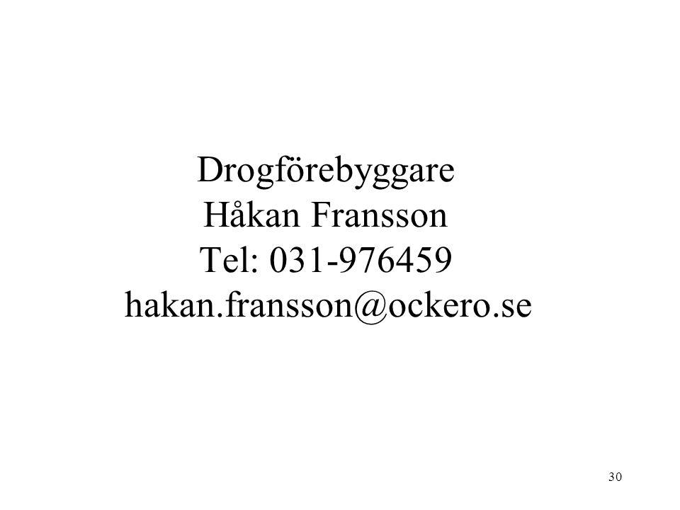 30 Drogförebyggare Håkan Fransson Tel: 031-976459 hakan.fransson@ockero.se