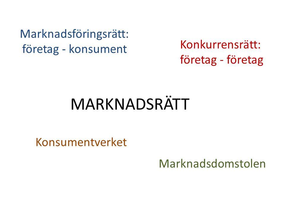 MARKNADSRÄTT Marknadsföringsrätt: företag - konsument Konkurrensrätt: företag - företag Konsumentverket Marknadsdomstolen