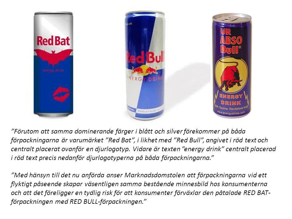Förutom att samma dominerande färger i blått och silver förekommer på båda förpackningarna är varumärket Red Bat , i likhet med Red Bull , angivet i röd text och centralt placerat ovanför en djurlogotyp.