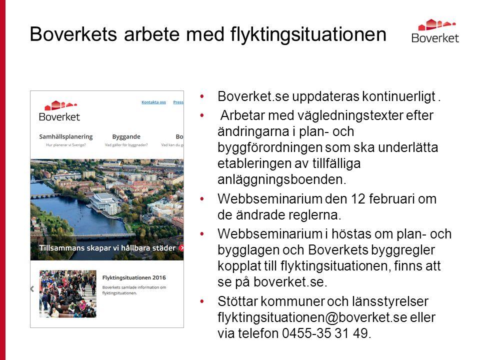 Boverkets arbete med flyktingsituationen Boverket.se uppdateras kontinuerligt.