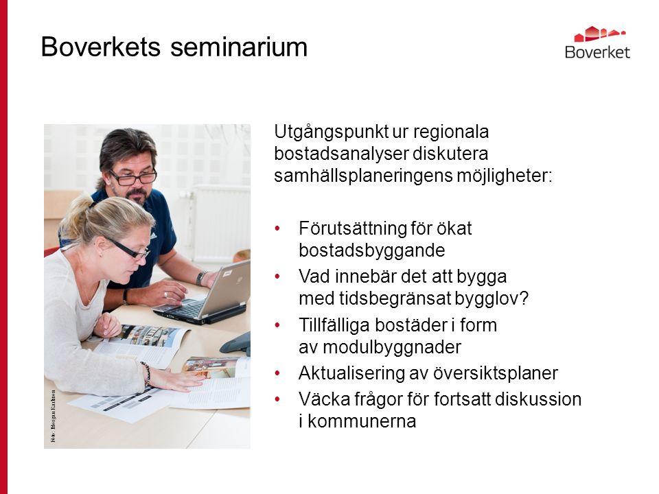 Boverkets seminarium Utgångspunkt ur regionala bostadsanalyser diskutera samhällsplaneringens möjligheter: Förutsättning för ökat bostadsbyggande Vad innebär det att bygga med tidsbegränsat bygglov.