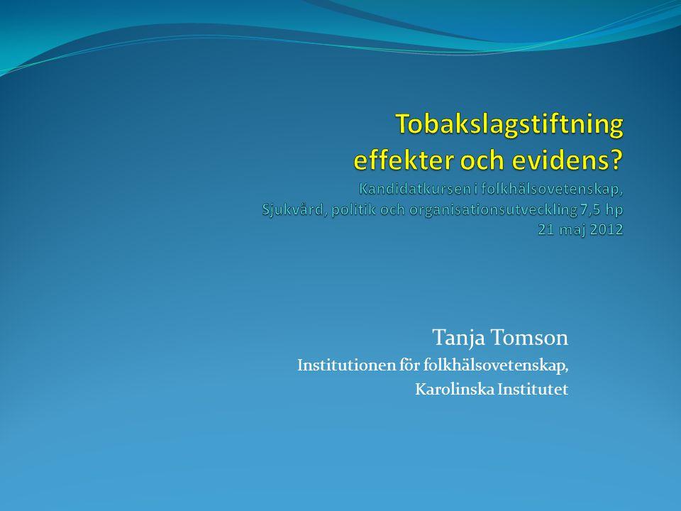 Tanja Tomson Institutionen för folkhälsovetenskap, Karolinska Institutet