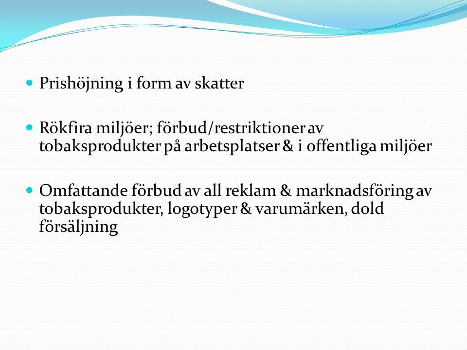 Prishöjning i form av skatter Rökfira miljöer; förbud/restriktioner av tobaksprodukter på arbetsplatser & i offentliga miljöer Omfattande förbud av al