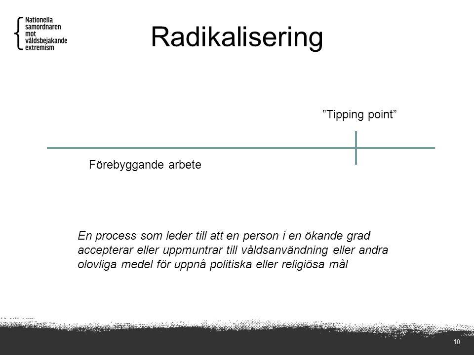 Radikalisering 10 En process som leder till att en person i en ökande grad accepterar eller uppmuntrar till våldsanvändning eller andra olovliga medel för uppnå politiska eller religiösa mål Tipping point Förebyggande arbete