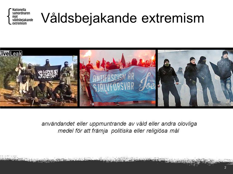 Våldsbejakande extremism 2 användandet eller uppmuntrande av våld eller andra olovliga medel för att främja politiska eller religiösa mål