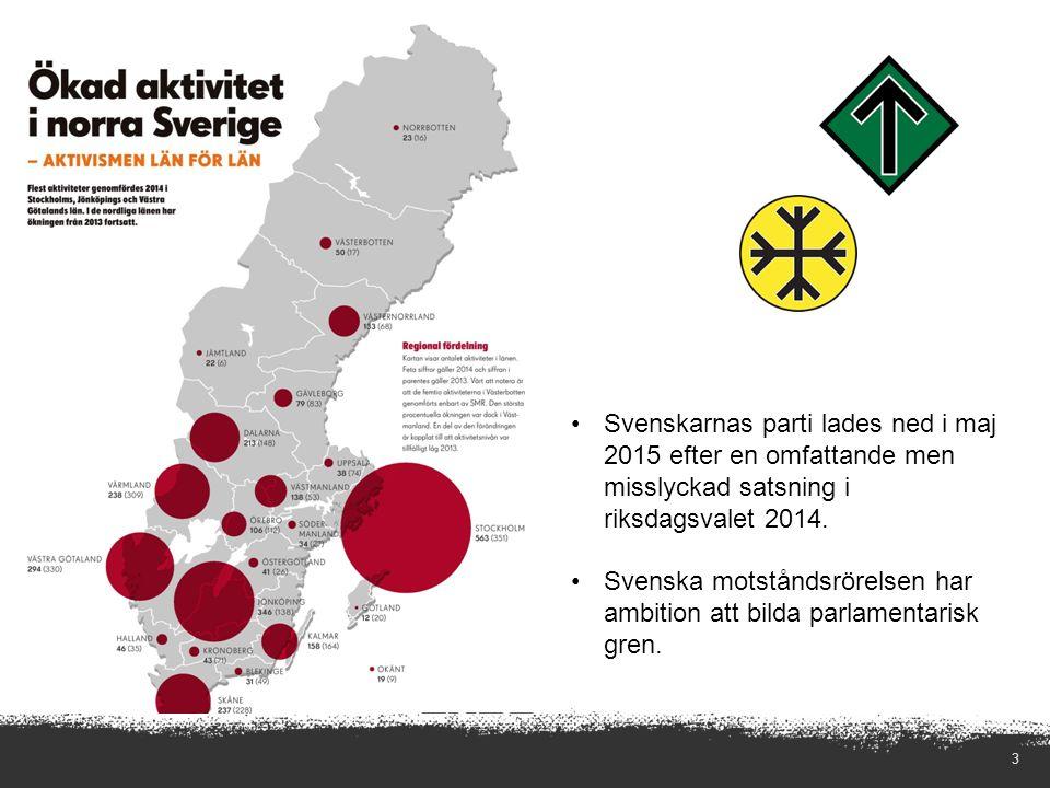 3 Svenskarnas parti lades ned i maj 2015 efter en omfattande men misslyckad satsning i riksdagsvalet 2014.