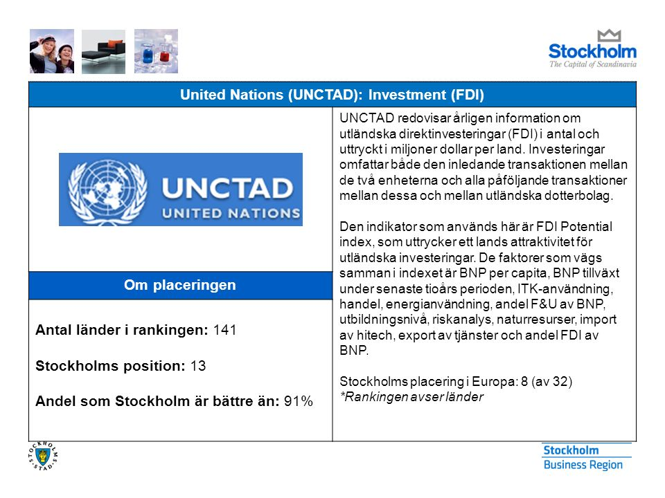 United Nations (UNCTAD): Investment (FDI) UNCTAD redovisar årligen information om utländska direktinvesteringar (FDI) i antal och uttryckt i miljoner