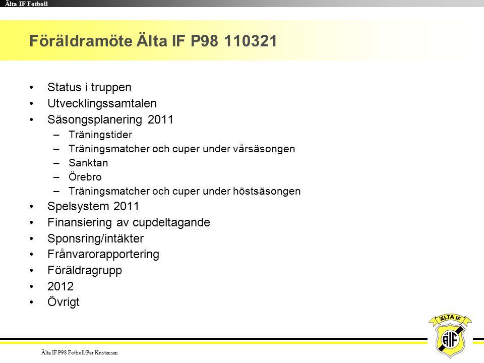 Älta IF Fotboll Älta IF P98 Fotboll/Per Kristensen Föräldramöte Älta IF P98 110321 Status i truppen Utvecklingssamtalen Säsongsplanering 2011 –Träningstider –Träningsmatcher och cuper under vårsäsongen –Sanktan –Örebro –Träningsmatcher och cuper under höstsäsongen Spelsystem 2011 Finansiering av cupdeltagande Sponsring/intäkter Frånvarorapportering Föräldragrupp 2012 Övrigt