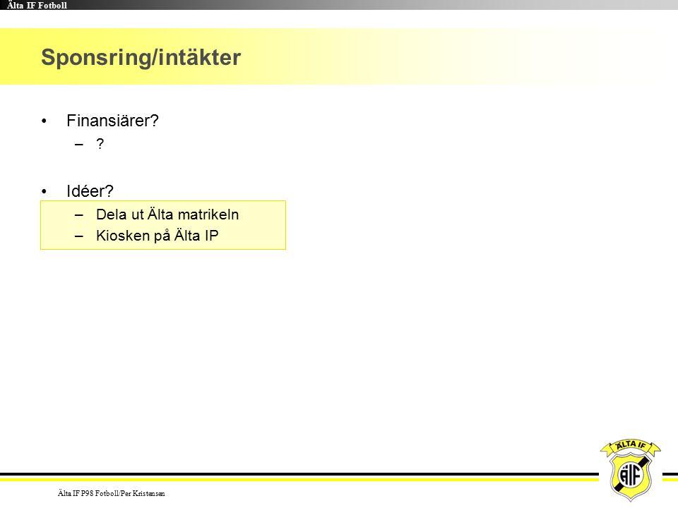 Älta IF Fotboll Älta IF P98 Fotboll/Per Kristensen Sponsring/intäkter Finansiärer.
