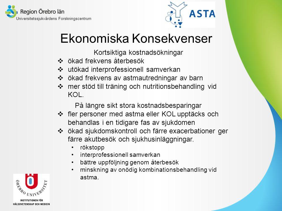 Ekonomiska Konsekvenser Kortsiktiga kostnadsökningar  ökad frekvens återbesök  utökad interprofessionell samverkan  ökad frekvens av astmautredningar av barn  mer stöd till träning och nutritionsbehandling vid KOL.