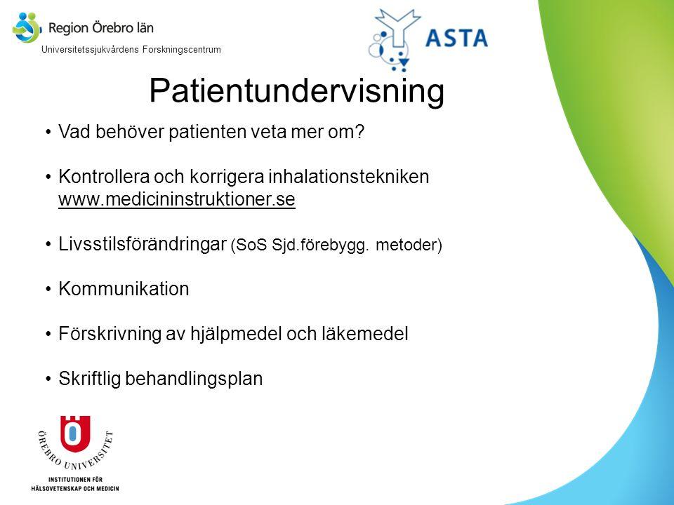 Patientundervisning Vad behöver patienten veta mer om? Kontrollera och korrigera inhalationstekniken www.medicininstruktioner.se www.medicininstruktio
