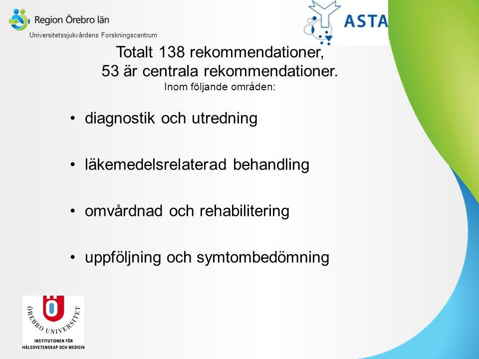 Totalt 138 rekommendationer, 53 är centrala rekommendationer. Inom följande områden: diagnostik och utredning läkemedelsrelaterad behandling omvårdnad