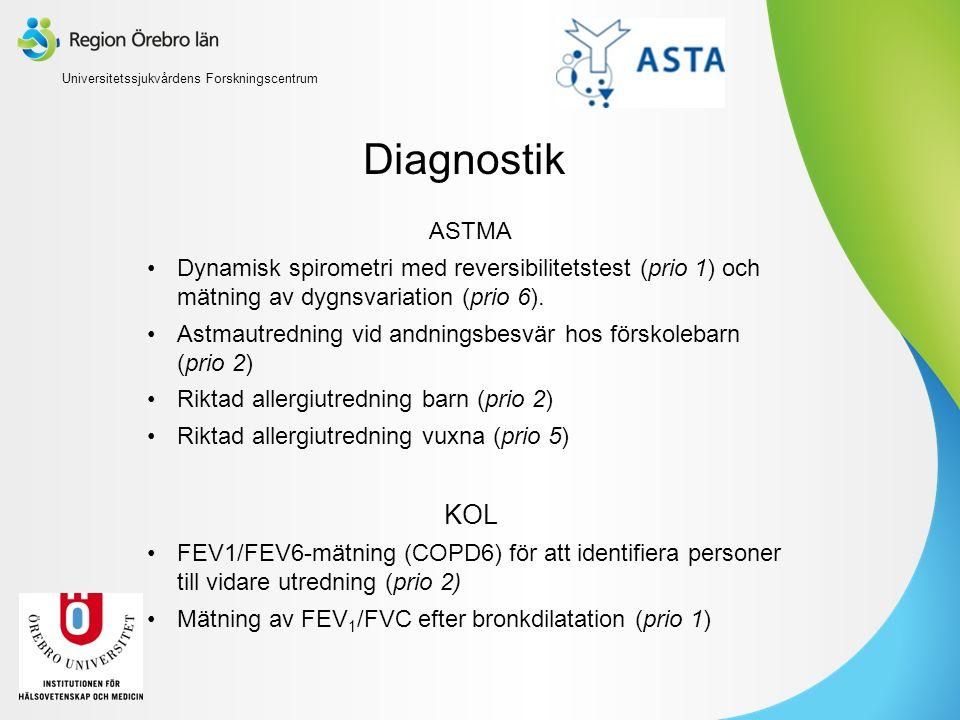 Diagnostik ASTMA Dynamisk spirometri med reversibilitetstest (prio 1) och mätning av dygnsvariation (prio 6). Astmautredning vid andningsbesvär hos fö