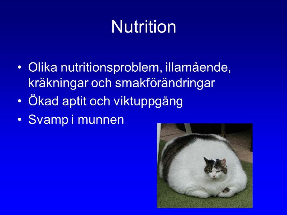 Nutrition Olika nutritionsproblem, illamående, kräkningar och smakförändringar Ökad aptit och viktuppgång Svamp i munnen