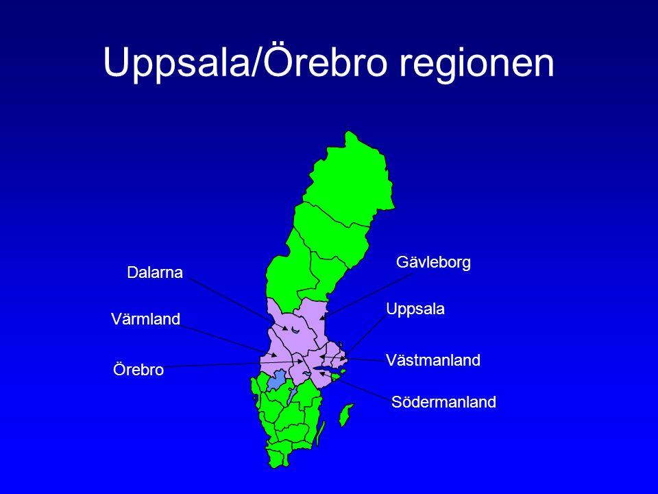 Uppsala/Örebro regionen Dalarna Värmland Örebro Gävleborg Uppsala Västmanland Södermanland