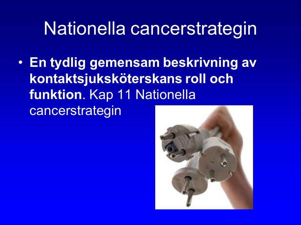 Nationella cancerstrategin En tydlig gemensam beskrivning av kontaktsjuksköterskans roll och funktion.