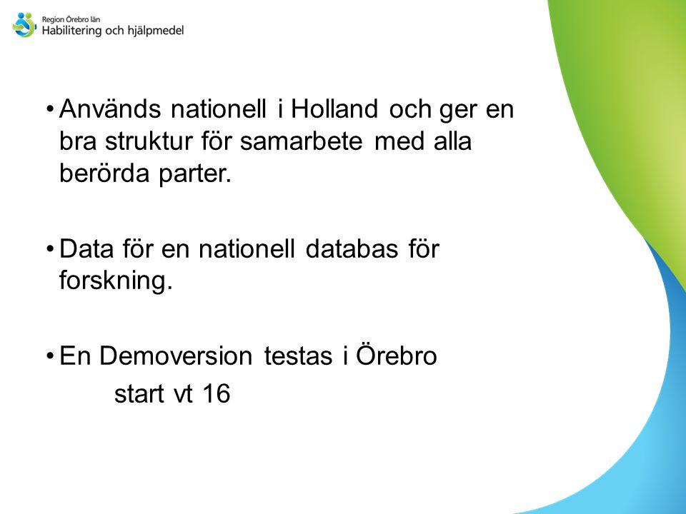 Används nationell i Holland och ger en bra struktur för samarbete med alla berörda parter.