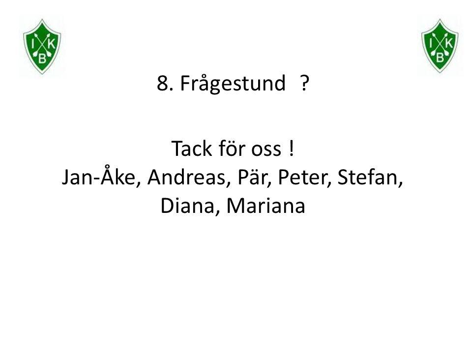 8. Frågestund Tack för oss ! Jan-Åke, Andreas, Pär, Peter, Stefan, Diana, Mariana