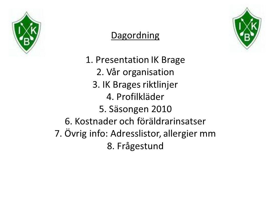 Dagordning 1. Presentation IK Brage 2. Vår organisation 3. IK Brages riktlinjer 4. Profilkläder 5. Säsongen 2010 6. Kostnader och föräldrarinsatser 7.