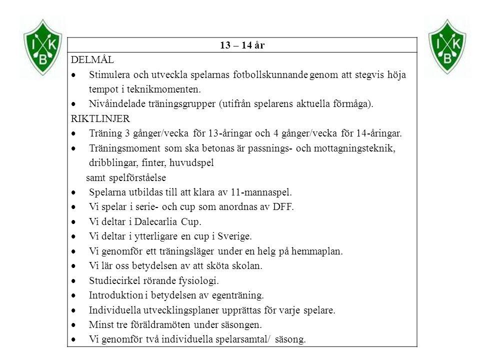 13 – 14 år DELMÅL  Stimulera och utveckla spelarnas fotbollskunnande genom att stegvis höja tempot i teknikmomenten.  Nivåindelade träningsgrupper (