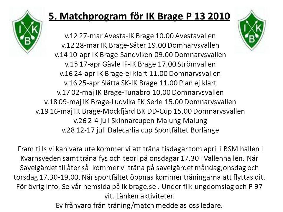 5. Matchprogram för IK Brage P 13 2010 v.12 27-mar Avesta-IK Brage 10.00 Avestavallen v.12 28-mar IK Brage-Säter 19.00 Domnarvsvallen v.14 10-apr IK B