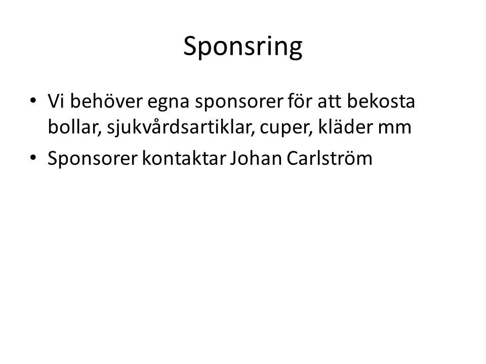 Sponsring Vi behöver egna sponsorer för att bekosta bollar, sjukvårdsartiklar, cuper, kläder mm Sponsorer kontaktar Johan Carlström