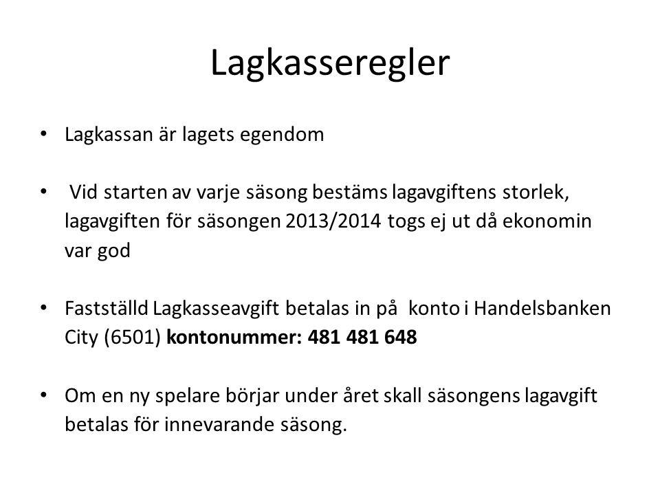 Lagkasseregler Lagkassan är lagets egendom Vid starten av varje säsong bestäms lagavgiftens storlek, lagavgiften för säsongen 2013/2014 togs ej ut då