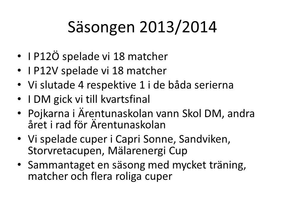 Säsongen 2013/2014 I P12Ö spelade vi 18 matcher I P12V spelade vi 18 matcher Vi slutade 4 respektive 1 i de båda serierna I DM gick vi till kvartsfinal Pojkarna i Ärentunaskolan vann Skol DM, andra året i rad för Ärentunaskolan Vi spelade cuper i Capri Sonne, Sandviken, Storvretacupen, Mälarenergi Cup Sammantaget en säsong med mycket träning, matcher och flera roliga cuper