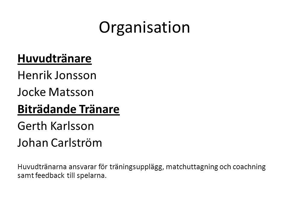 Organisation Huvudtränare Henrik Jonsson Jocke Matsson Biträdande Tränare Gerth Karlsson Johan Carlström Huvudtränarna ansvarar för träningsupplägg, m