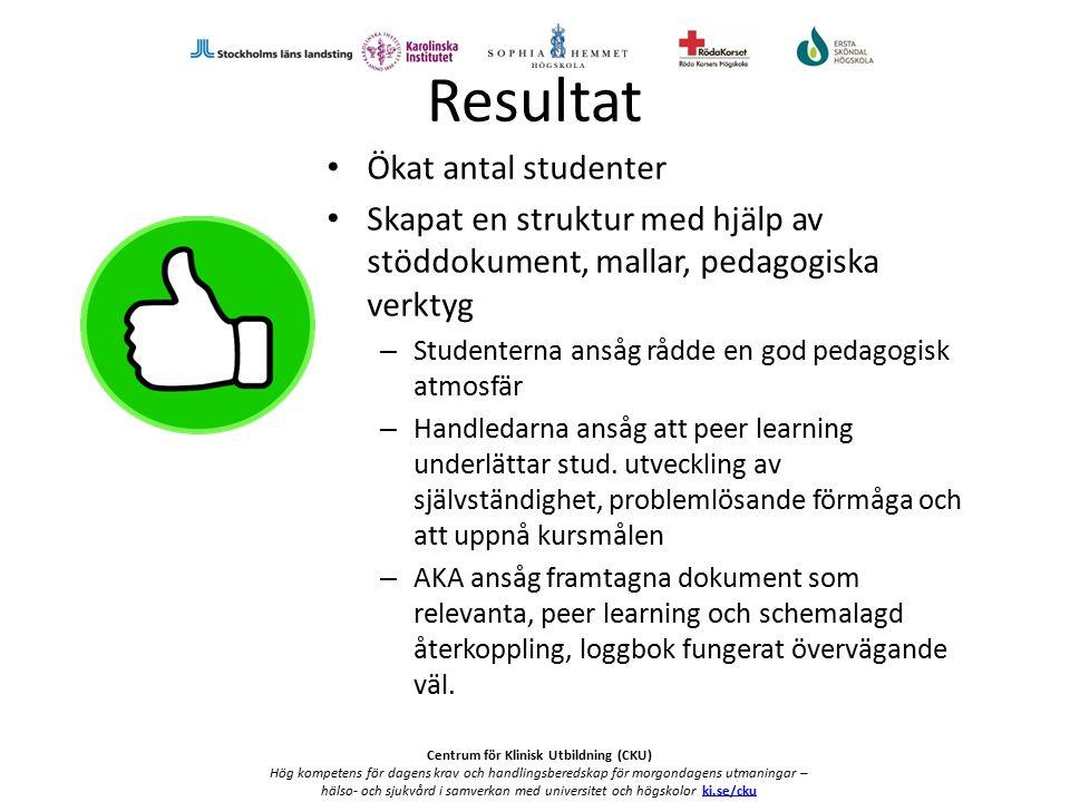 Centrum för Klinisk Utbildning (CKU) Hög kompetens för dagens krav och handlingsberedskap för morgondagens utmaningar – hälso- och sjukvård i samverkan med universitet och högskolor ki.se/ckuki.se/cku Att utveckla vidare Pedagogiskt stöd till handledarna Nätverksträffar till AKA Webbaserat stöd http://www.cku-sthlm.se/http://www.cku-sthlm.se/ Varumärksskydda (pedagogiska grundidéer, kriterier, enhetliga definitioner etc.) Beskriva Peer learning som metod