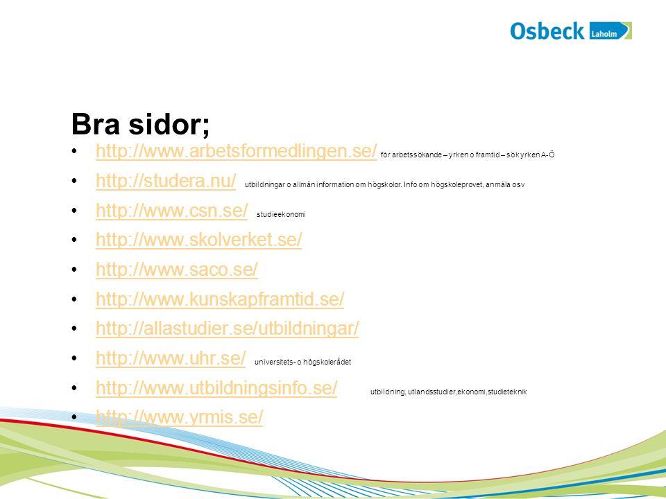 Bra sidor; http://www.arbetsformedlingen.se/ för arbetssökande – yrken o framtid – sök yrken A-Öhttp://www.arbetsformedlingen.se/ http://studera.nu/ utbildningar o allmän information om högskolor.