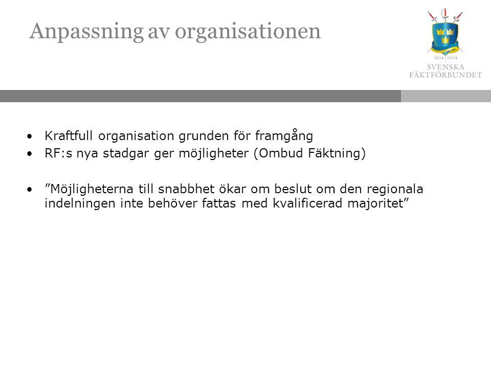Anpassning av organisationen Kraftfull organisation grunden för framgång RF:s nya stadgar ger möjligheter (Ombud Fäktning) Möjligheterna till snabbhet ökar om beslut om den regionala indelningen inte behöver fattas med kvalificerad majoritet