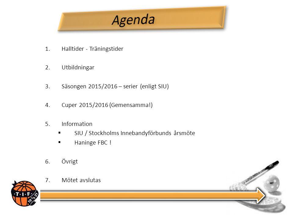 1.Halltider - Träningstider 2.Utbildningar 3.Säsongen 2015/2016 – serier (enligt SIU) 4.Cuper 2015/2016 (Gemensamma!) 5.Information  SIU / Stockholms Innebandyförbunds årsmöte  Haninge FBC .