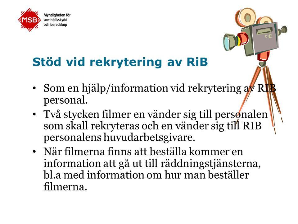 Stöd vid rekrytering av RiB Som en hjälp/information vid rekrytering av RIB personal.