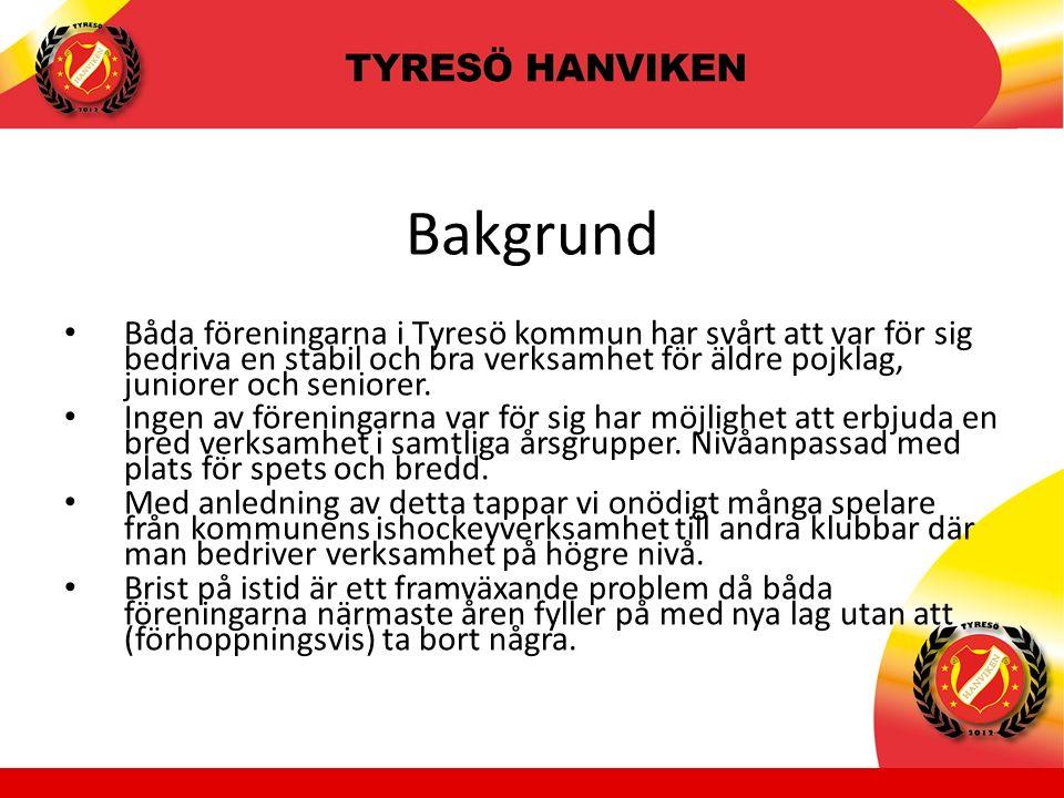 Bakgrund Båda föreningarna i Tyresö kommun har svårt att var för sig bedriva en stabil och bra verksamhet för äldre pojklag, juniorer och seniorer.