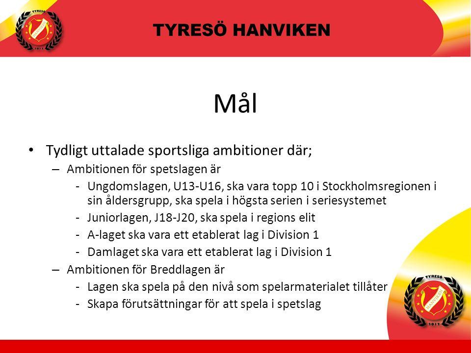 Mål Tydligt uttalade sportsliga ambitioner där; – Ambitionen för spetslagen är -Ungdomslagen, U13-U16, ska vara topp 10 i Stockholmsregionen i sin åldersgrupp, ska spela i högsta serien i seriesystemet -Juniorlagen, J18-J20, ska spela i regions elit -A-laget ska vara ett etablerat lag i Division 1 -Damlaget ska vara ett etablerat lag i Division 1 – Ambitionen för Breddlagen är -Lagen ska spela på den nivå som spelarmaterialet tillåter -Skapa förutsättningar för att spela i spetslag