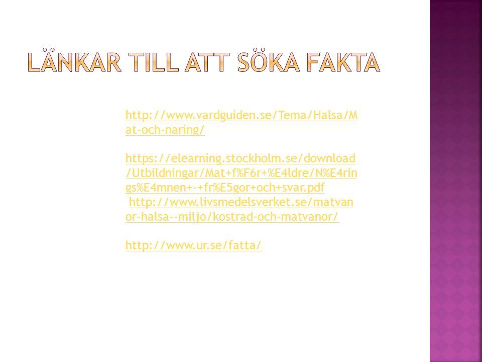 http://www.vardguiden.se/Tema/Halsa/M at-och-naring/ http://www.vardguiden.se/Tema/Halsa/M at-och-naring/ https://elearning.stockholm.se/download /Utbildningar/Mat+f%F6r+%E4ldre/N%E4rin gs%E4mnen+-+fr%E5gor+och+svar.pdf http://www.livsmedelsverket.se/matvan or-halsa--miljo/kostrad-och-matvanor/http://www.livsmedelsverket.se/matvan or-halsa--miljo/kostrad-och-matvanor/ http://www.ur.se/fatta/