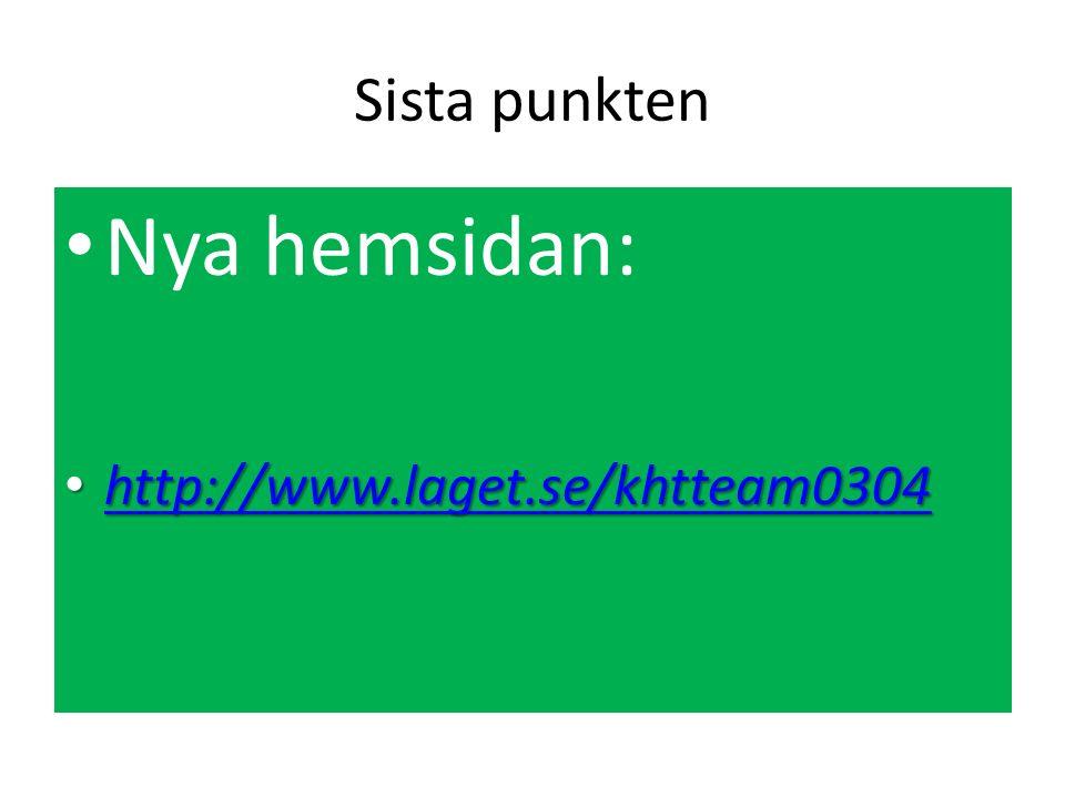 Sista punkten Nya hemsidan: http://www.laget.se/khtteam0304 http://www.laget.se/khtteam0304 http://www.laget.se/khtteam0304