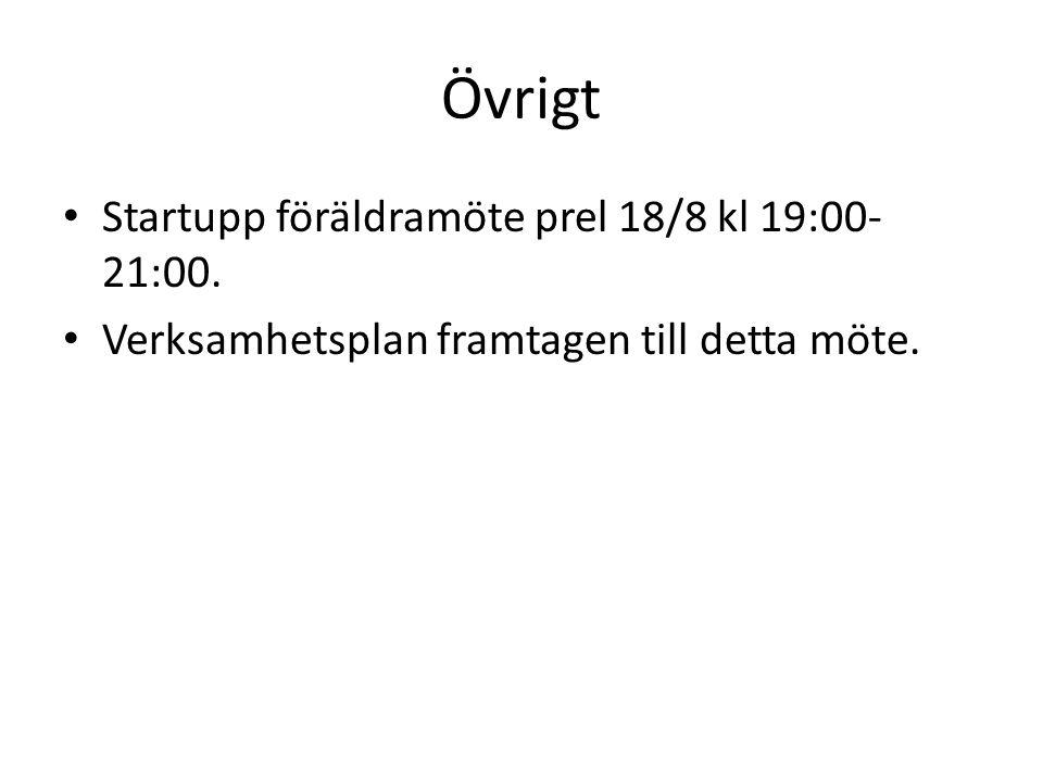 Övrigt Startupp föräldramöte prel 18/8 kl 19:00- 21:00. Verksamhetsplan framtagen till detta möte.