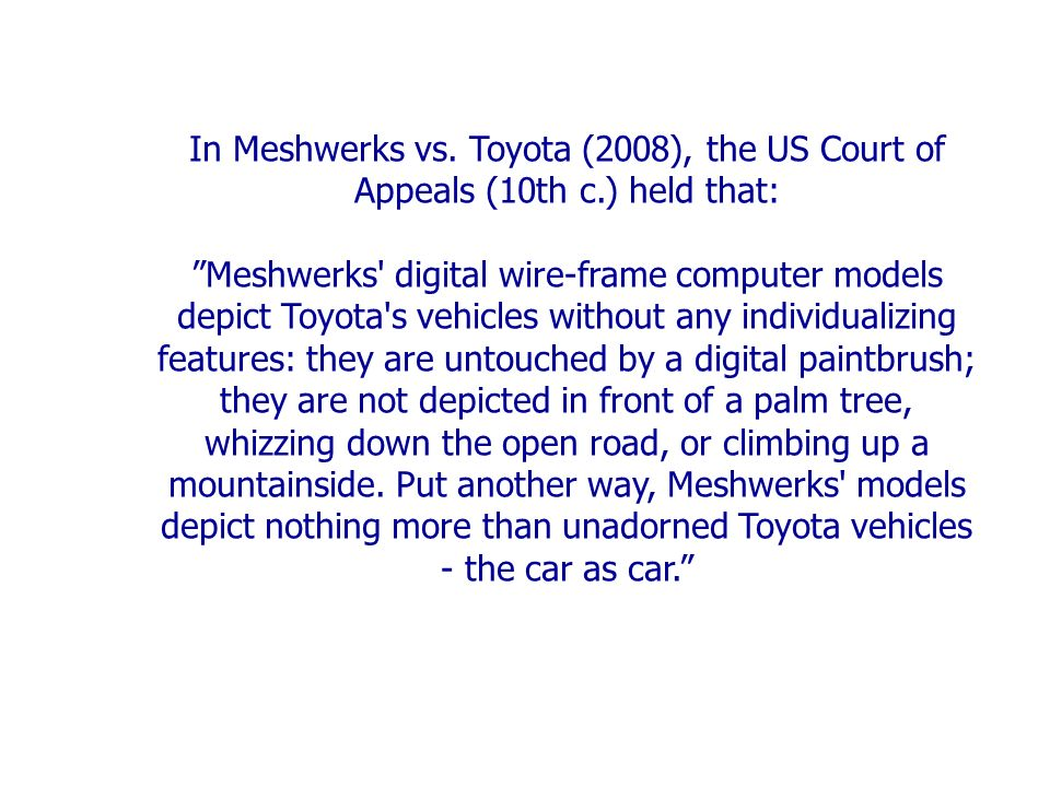In Meshwerks vs.